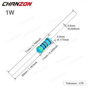 50 шт. 1 Вт 1% металлического пленочного набор резисторов 0.1ohm - 1M Ом 1 Вт Высокая точность MF фиксированное сопротивление 1K 2,2 K 4,7 K 10K 100K 4R7 2K2 220K