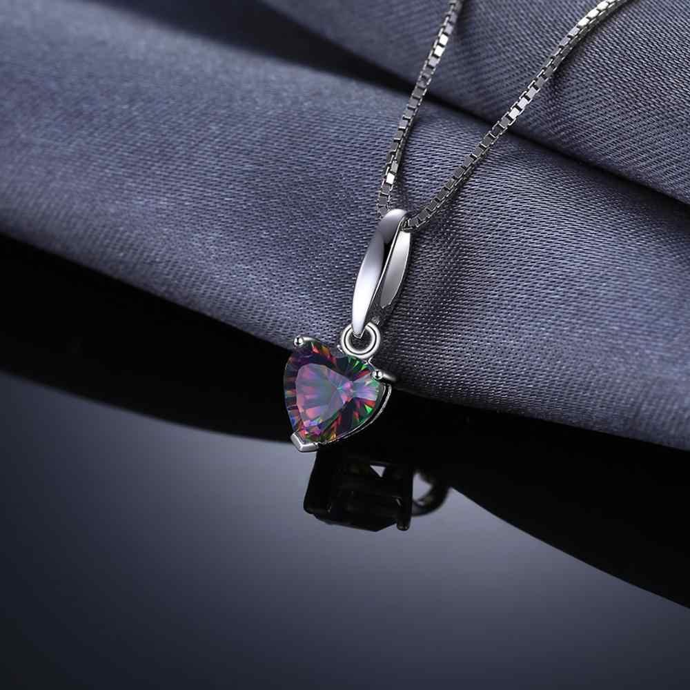 Jewelrypalace Heart ของแท้ Mystic Fire Topaz จี้เครื่องประดับ Fine ของแข็ง 925 เงินสเตอร์ลิงไม่รวมโซ่