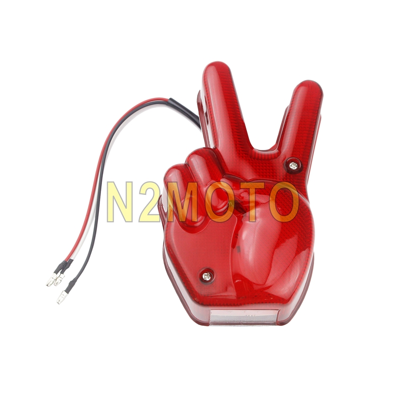 Motorcycle Hand Victory LED Red Light Stop Lamp Peace Sign Tail Light For Harley Cafe Racer Chopper Bobber Custom Universal