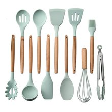 11pcs Silicone Cooking Utensils Non-stick Spatula Soup Spoon Wooden Handle Kitchen Tools Set Accessories