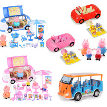 Peppa pig Car full set Figure George Toys Car Dining Car Cartoon Action Figure anime toy for children Family Party Birthday Gift