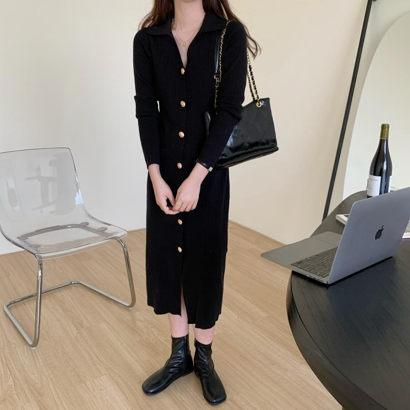 H8eeb760037c043a6a73ff5f6de719290X - Autumn Turn-Down Collar Soft Slim Solid Long Sweater Dress