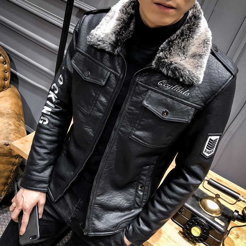2018 New Style Leather Coat Men Fur PU Leather Jacket Locomotive Fold-down Collar Men's Thick Leather Coat Korean-style Slim Fit
