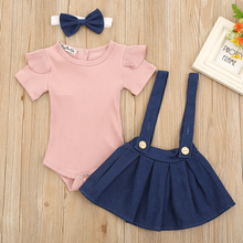 3pcs Summer Baby Girl Clothes Short Sleeve Romper Top Flower Strap Dress Headband Cute Newborn Infant Girls Othing Outfits Set chivry 4pcs cute infant baby girls boys unicorn clothing long sleeve bodysuit top pants headband hat girl outfits clothes set