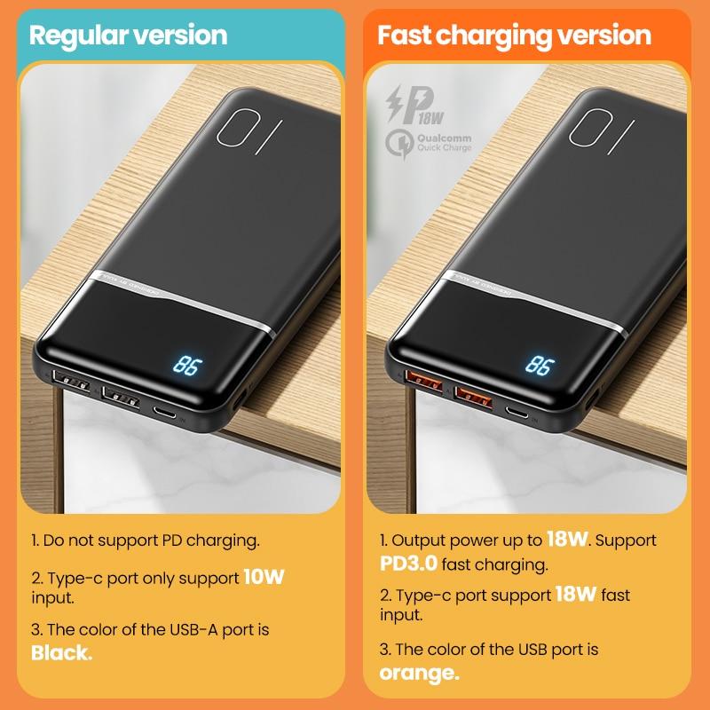 KUULAA Power Bank 10000mAh Portable Charging PowerBank 10000 mAh USB PoverBank External Battery Charger For Xiaomi Mi 9 8 iPhone 2