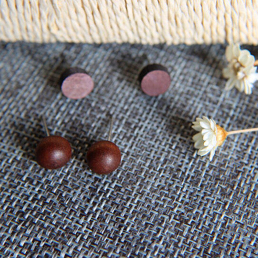 1 Pair Ethnic Natural Brown Ebony Stud Earrings Vintage Wood Round Beads Oblate Hook Earrings Ornament