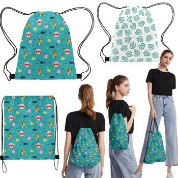 Bolso de mano de Tom Nook, bolso cruzado de animales, Bolsa Escolar con cordón de hoja, mochila para mujer, mochila impermeable para niñas, bolsas para cuaderno para niños