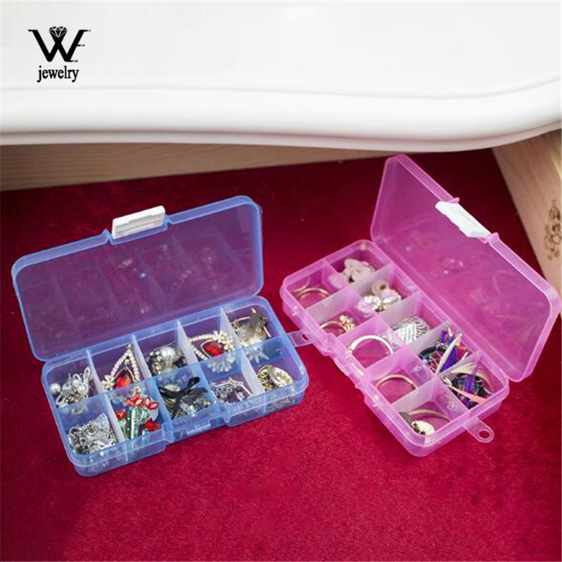 WE Small 10Slots Adjustable Plastic Jewelry Box Storage Case Craft Jewelry Organizer Beads Diy Jewelry Making Joyero Organizador