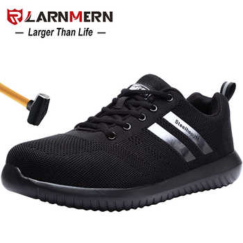 LARNMERN Men\'s Steel Toe Work Safety Shoes Anti-smashing Anti-puncture Breathable Lightweight Construction Protective Footwear - DISCOUNT ITEM  50% OFF Shoes