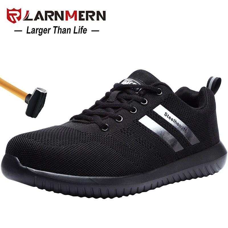 Zapatos de seguridad de trabajo de punta de acero para hombre LARNMERN zapatos de protección de construcción ligeros transpirables antigolpes-in Botas de seguridad y de trabajo from zapatos    1