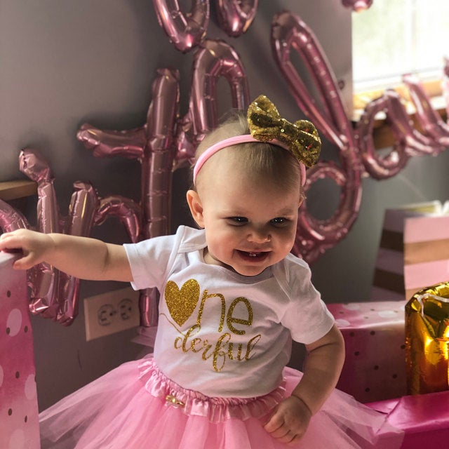 ONEderful Birthday Pink Gold Outfit 1st Birthday Party Girls Outfits Cake Smash Tutu+baby Bodysuits Summer Set Fashion Wear 3