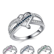 Fashion Exquisite Cute Silver Heart Crystal Rings for Bridal Wedding Ring Anniversary Lover's Jewelry Valentine's Day Gift