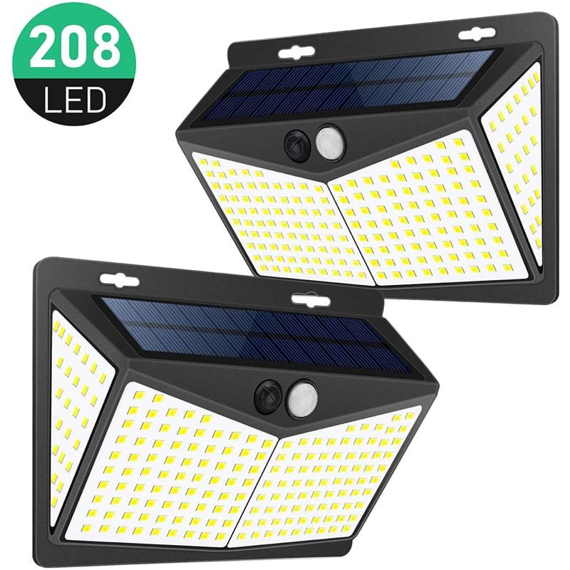 Outdoor Solar Lamp  ,208 LEDs Solar Light,3 Light Mode,Easy Installation, Decorative Garden Garage, IP 65 Waterproof