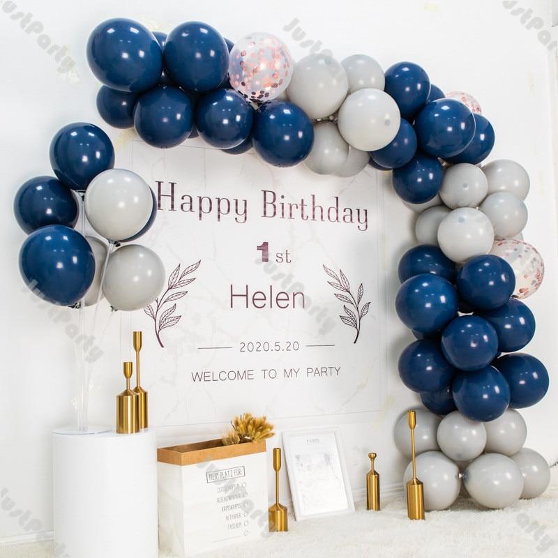 72pcs Navy Blue Balloon Garland Arch Gender Reveal Decoration Matte Gray Rose Gold Birthday Party Wedding Baby Shower Decor