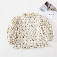 Autumn New Arrival Korean style cotton flowers pattern long sleeve all-match shirt with doll collar for cute sweet baby girls(China)