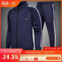 Мужской комплект утепленной спортивной одежды, темно-серый спортивный костюм из двух предметов, толстовка свитшот с капюшоном и штаны