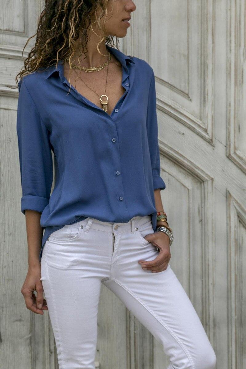 Explosion Long Sleeve Women's Deep V Button Shirt 3XL 2XL XL L M S White Black Yellow Gray Orange Light Green Blue Lady 's Shirt
