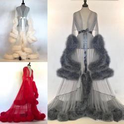 Frauen Winter Sexy Faux Pelz Dame Nachtwäsche Frauen Bademantel Sheer Nachthemd Rot Weiß Grau Robe Prom Brautjungfer Shawel