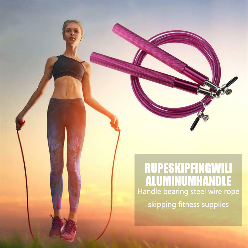 Aluminum <font><b>Handle</b></font> Wire <font><b>Rope</b></font> Swivel <font><b>Skipping</b></font> <font><b>Rope</b></font> for Fitness Workout Gym Aluminum Alloy <font><b>Handle</b></font> Steel Wire Jump <font><b>Rope</b></font> Body Building image