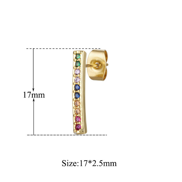 100 Real Micro Pave Simple Bar Colorful CZ Stud Earrings for Women Cubic Zirconia Women Stud.jpg 640x640 - 100% Real Micro Pave Simple Bar Colorful CZ Stud Earrings for Women Cubic Zirconia Women Stud Earring Trendy Ear Studs For Women