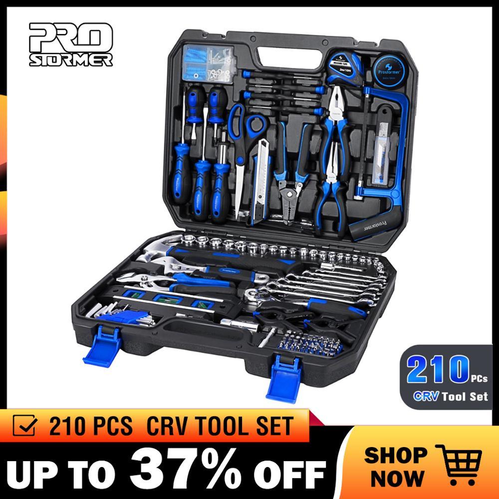 Prostormer 210 Pcs Ratchet Wrench Hand Tools Set Combination Socket Adapter Kit Spanner Set General Household Wrench Set Tool