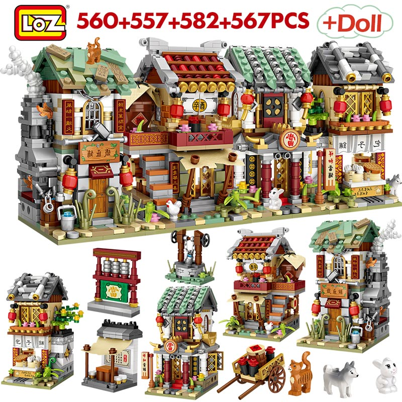 LOZ Creatored Mini Street View China Street Bun Shop Pawnshop Bistro Blacksmith Shop Building Blocks Toys For Children Gifts