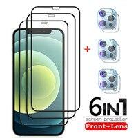 6-in-1 Gehärtetem Glas Display-schutzfolien für IPhone 12 11 Pro Max 12Mini Kamera Objektiv Schutzhülle glas Film für IPhone XS X XR