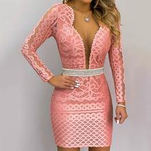 Feitong Женская мода платье Vestidos сексуальное облегающее кружевное с длинным рукавом v-образным вырезом жемчужные пуговицы евро-американское мини-платье женское