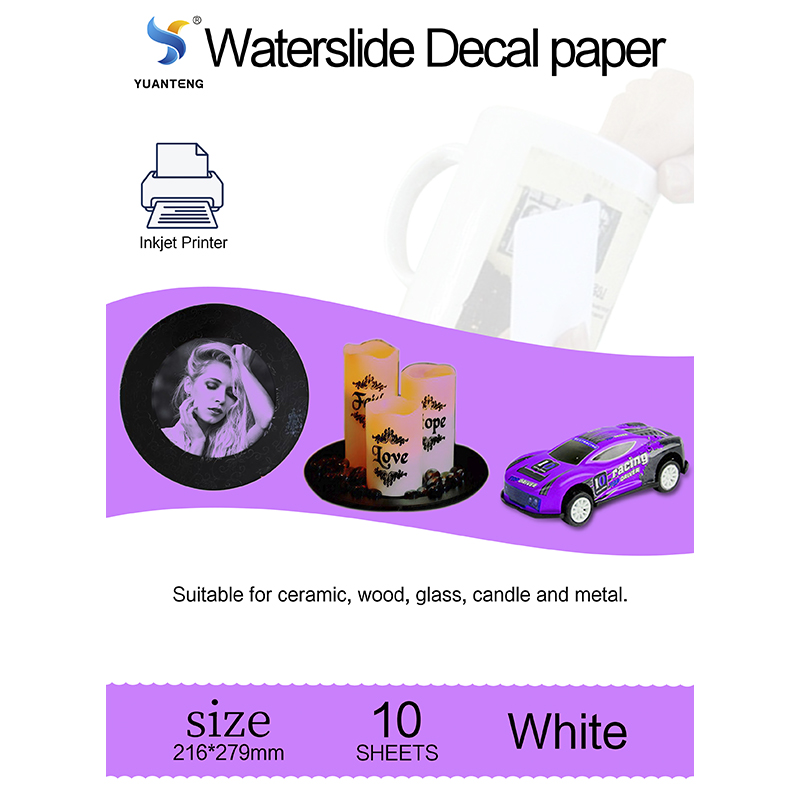 10 Sheets White Inkjet Water-Slide Transfer Decals for DIY Custom Tumblers Waterslide Decal Transfer Foil Nail Art Letter Size