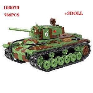 Image 5 - 726 sztuk wojskowy rosja KV 1 Tank Building Blocks WW2 wojskowy czołg żołnierze sił zbrojnych figurki broń części cegieł zabawki dla dzieci