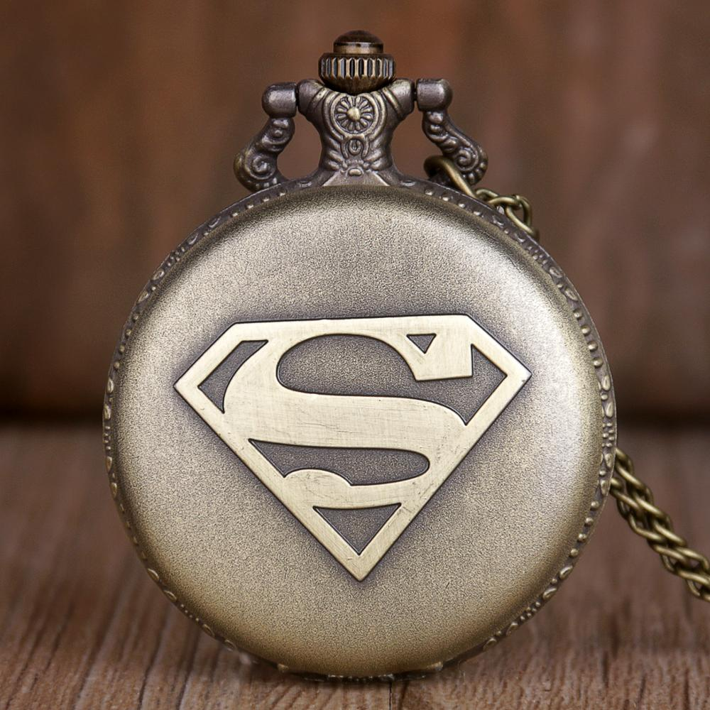 New Vintage Bronze Case Marvel Superhero Superman Theme Quartz Pocket Watch Fob Watch With Fob Chain For Men Women CF1064