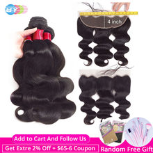 Body Wave Bundles With Frontal Swiss Lace HD Lace Frontal And Bundles Brazillian Hair Bundles With Closure Human Remy BY Hair(China)