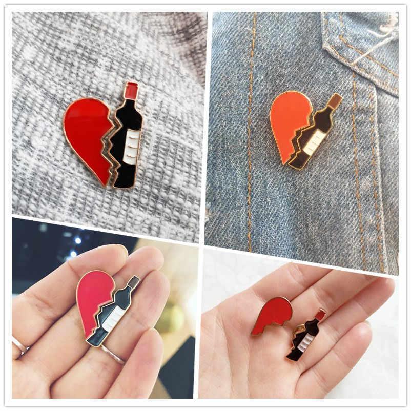 Kalp ve şarap şişesi emaye pimleri kırık kalp bulmaca parçası karikatür aşk broşlar ceketler yaka Pin rozeti takı sevgilisi için hediye