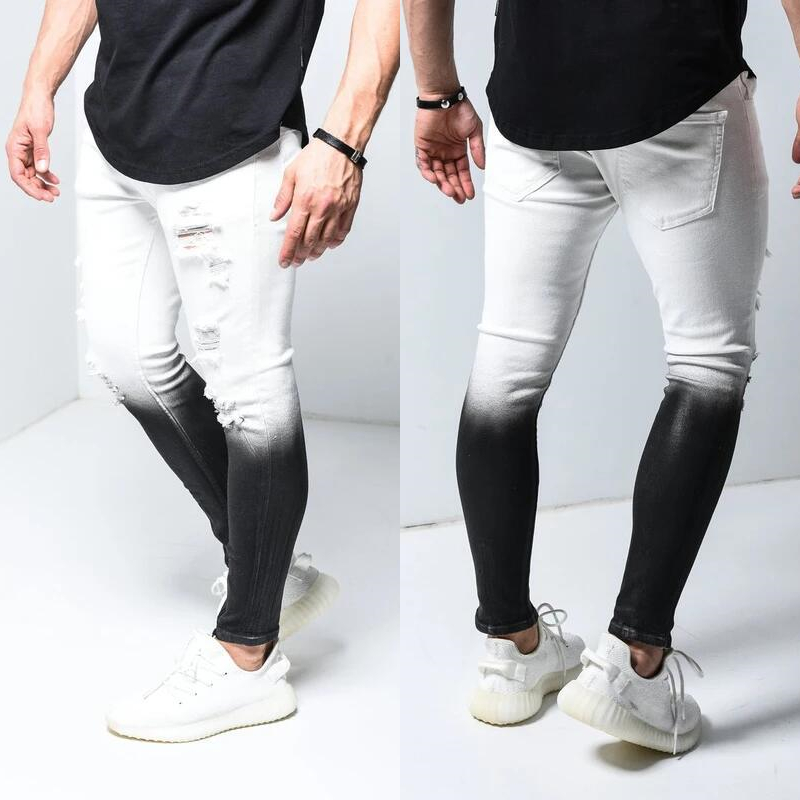 New Jeans Skinny Uomo Men Gradient Black White Ripped Hole Denim Pantalones Male Ankle Zipper Pencil Trousers Slim Hip Hop Jean