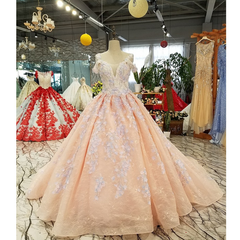 BGW 3229ht Pink Evening Dress 2020 With Light Purple Flowers Big O neck Sexy Spaghetti Strap Ball Gown Party Dress Free ShippingEvening Dresses   -