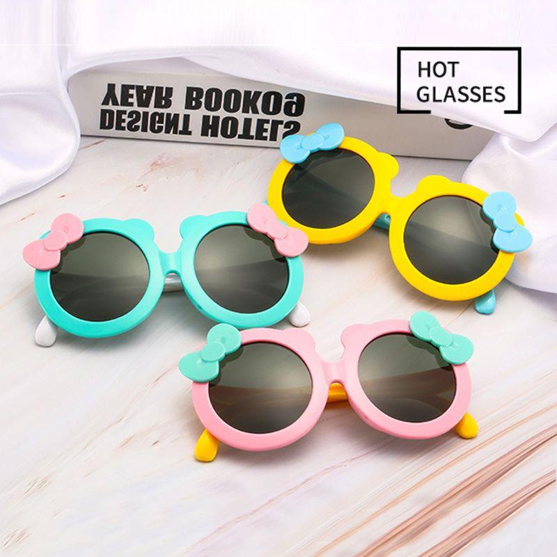 Детские поляризованные солнцезащитные очки для девочек, милые Солнцезащитные очки с бантом, силиконовые защитные очки UV400