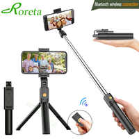 Roreta 3 in 1 Wireless Bluetooth Selfie Stick Foldable Mini Tripod Expandable Monopod with Remote Control for iPhone IOS Android