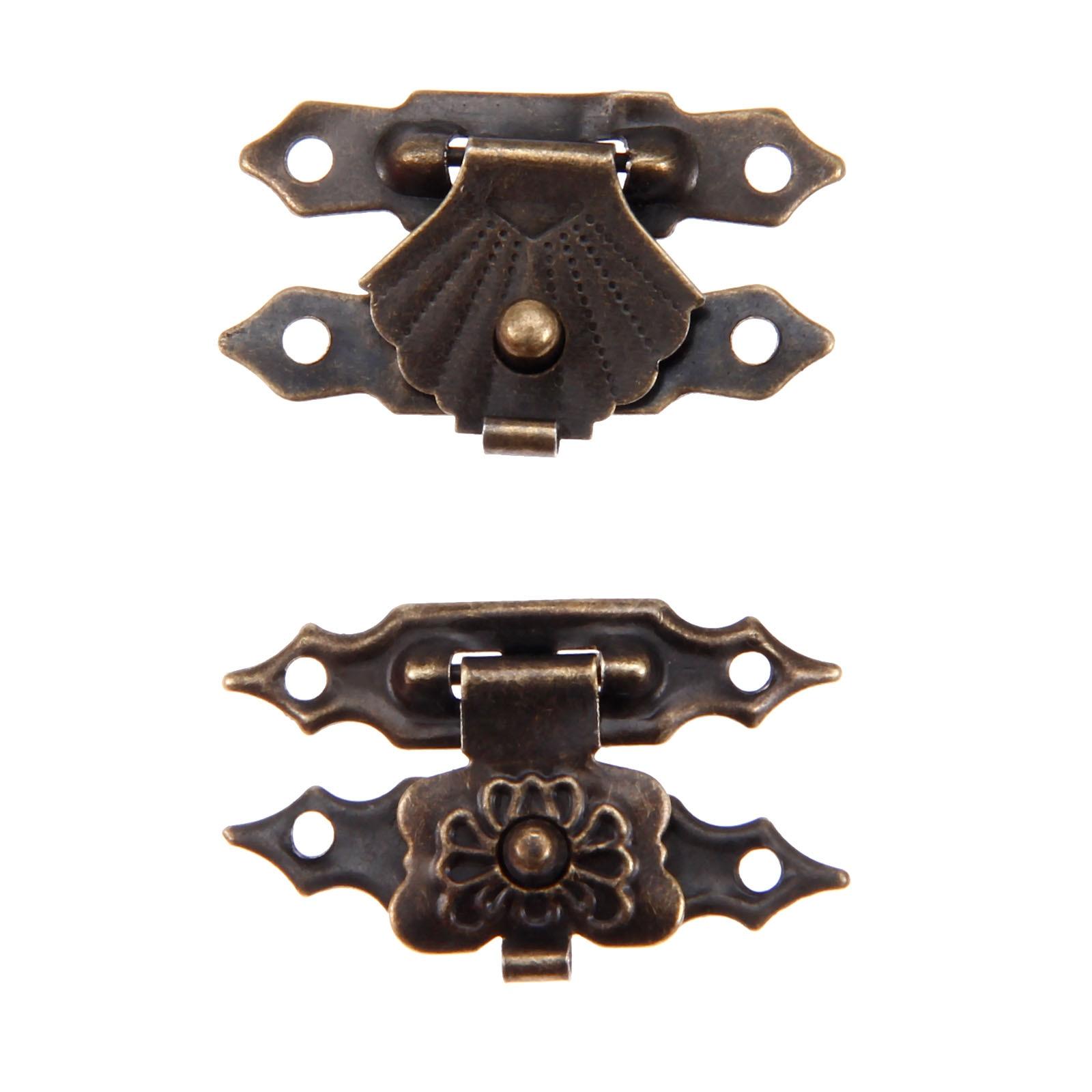 10Pcs Box Latch Hasps Antique Iron Jewelry Padlock Hasp Locked Wooden Wine Gift Box Handbag Buckle Hardware Accessories 30x18mm