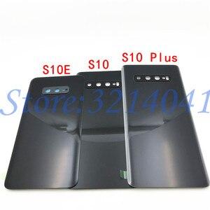 Image 4 - 10 ピース/ロットガラスバッテリーカバーバックドアハウジングケースサムスンギャラクシー S10 プラス S10e S10 S10 + G970 G9730 g9750 とカメラレンズ