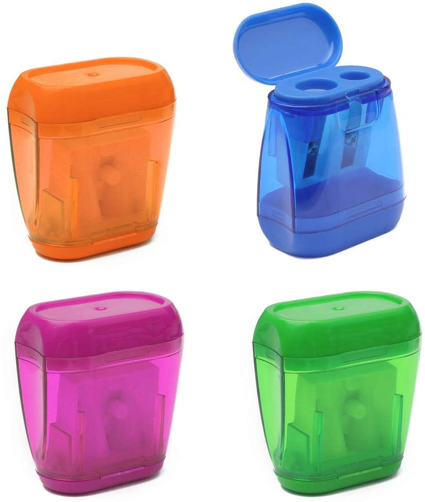 Dual Holes Pencil Sharpener With Lid For Kids Colorful Plastic Manual Multifunctional School Office Stationery