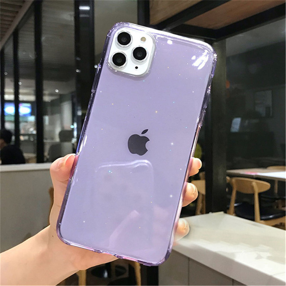 H8eedc2ac3050416b8d417ee95c3f6411E - Moskado Bling Glitter Transparent Phone Cases For iPhone 11 11Pro Max X XR XS Max 7 8 6 6s Plus Clear Solid Soft TPU Back Cover