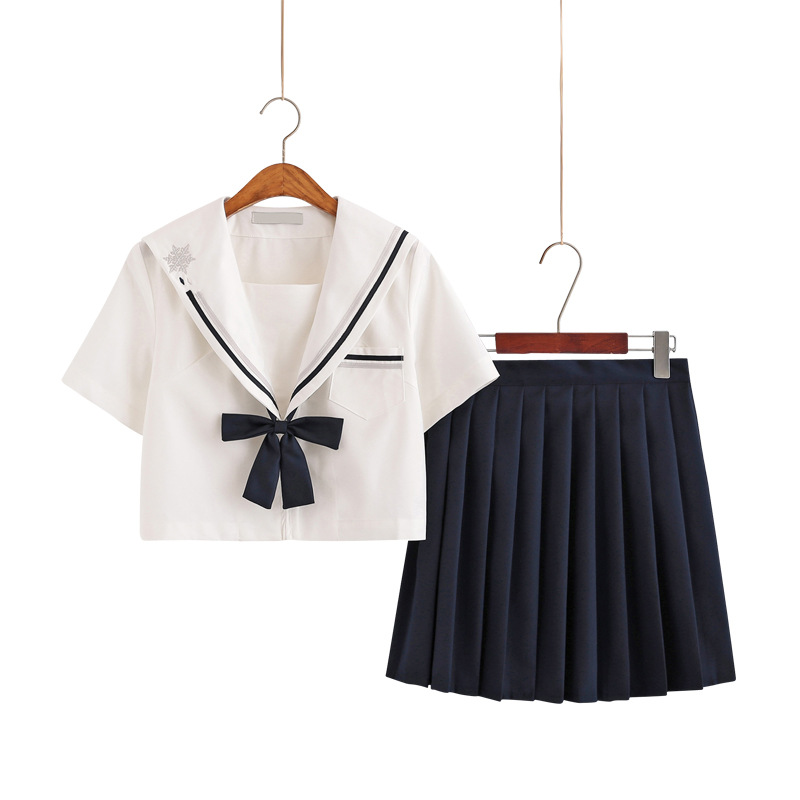 School Dresses Jk Uniforms Black Sailor Suit With Tie Anime Pleated Skirt Uniform Dress High School Girls Students Beige Black