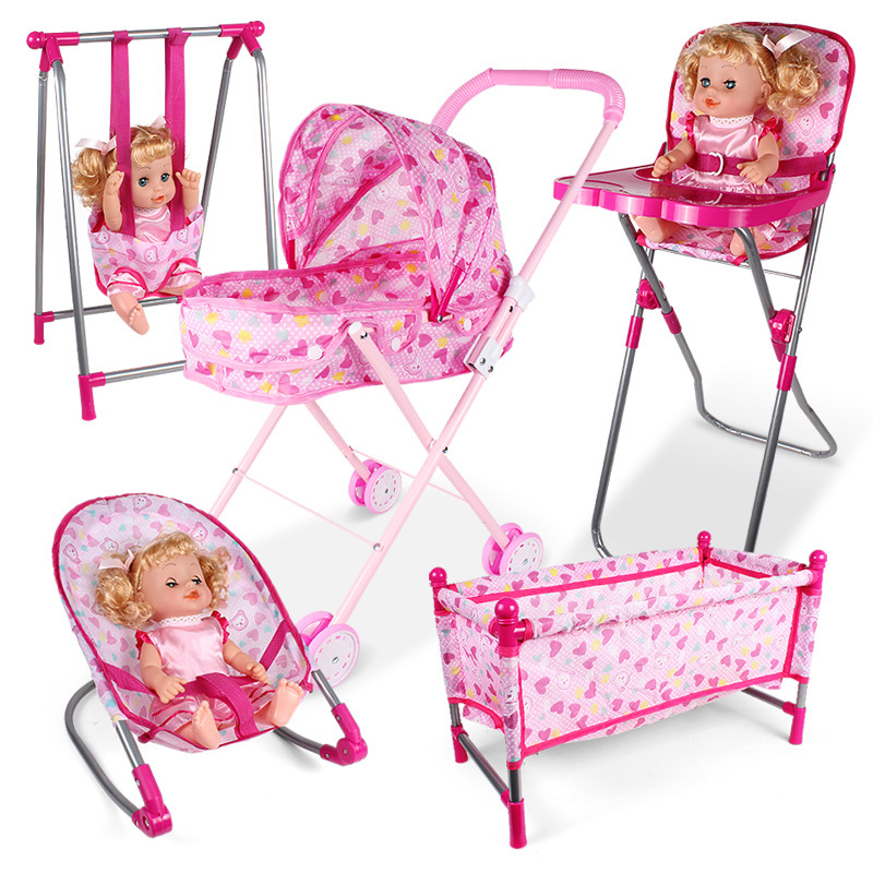 Fashion Kids Play House Toys Simulation Baby Stroller Dining Chair Rocking Chair Swing Bed Toy Doll Accessories Girl Toy Gift