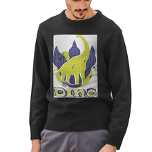 NOISYDESIGNS Men Casual Knitted Sweater Dinosaur Pattern Men's Korean Autumn Pullover Tops Male O-Neck Oversize Sweater Fashions