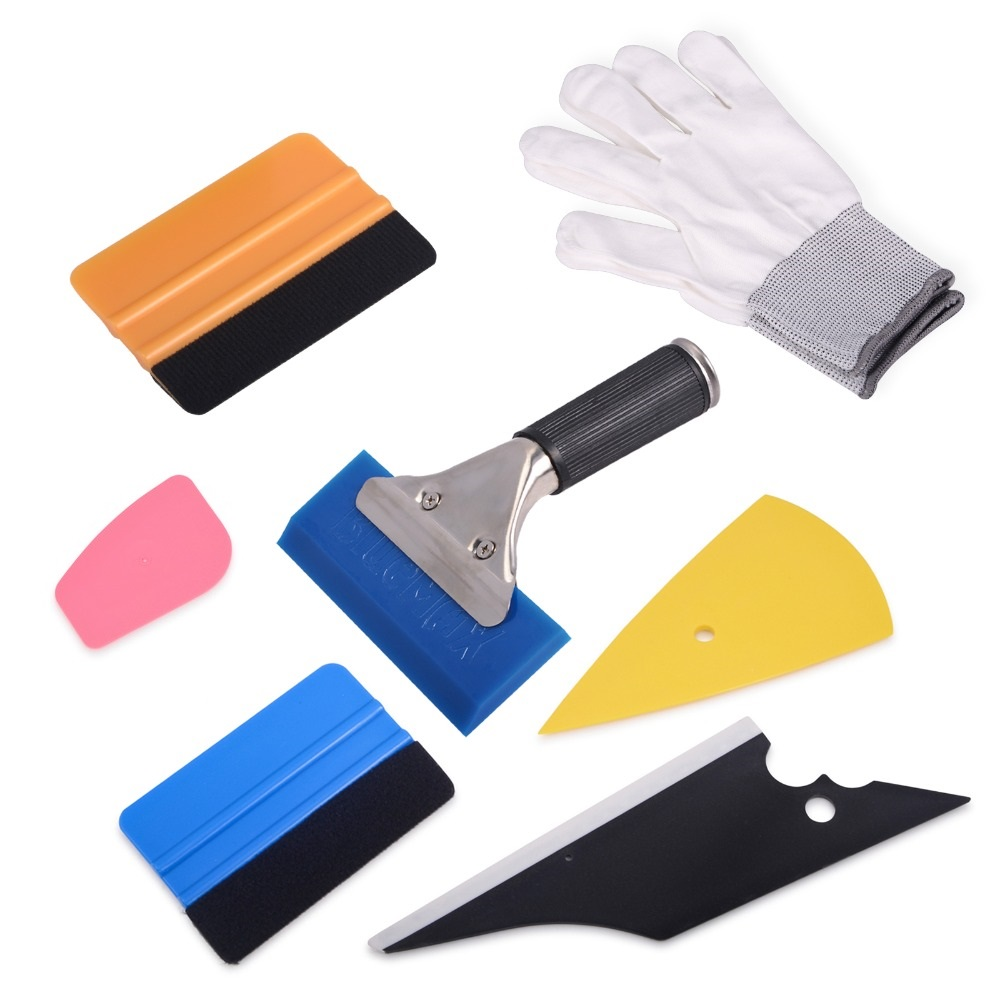 Vinyl Wrap Felt Squeegee Carbon Fiber Film Glove for Car Window Tint Tool Kit