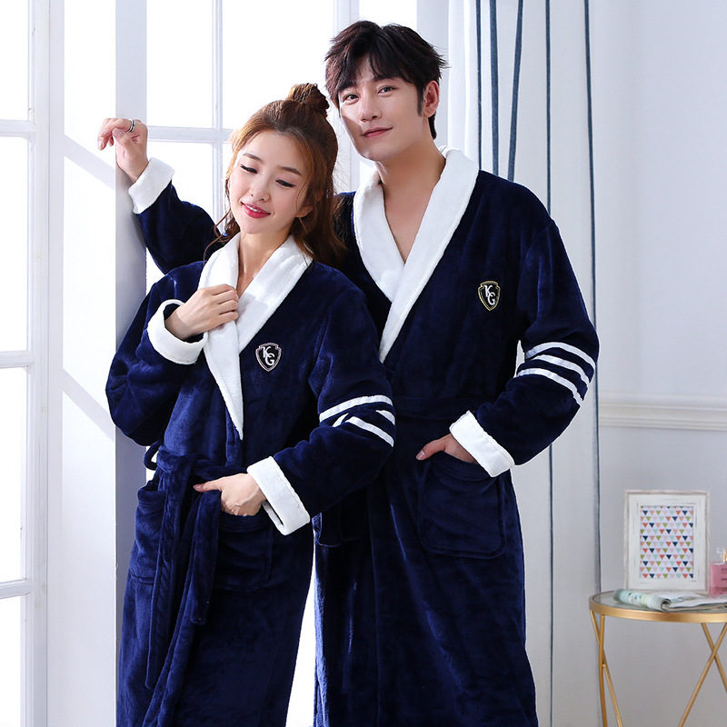FZSLCYIYI Lovers Winter New Coral Fleece Lady Robe Kimono Bathrobe Nightgown Thick Warm Long Sleeve Sleepwear Bath Night Dress
