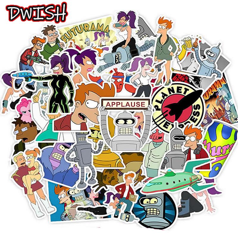 10/30/50pcs Anime Futurama Children Stickers Waterproof PVC Skateboard Guitar Suitcase Funny Graffiti Sticker Kids Classic Toy