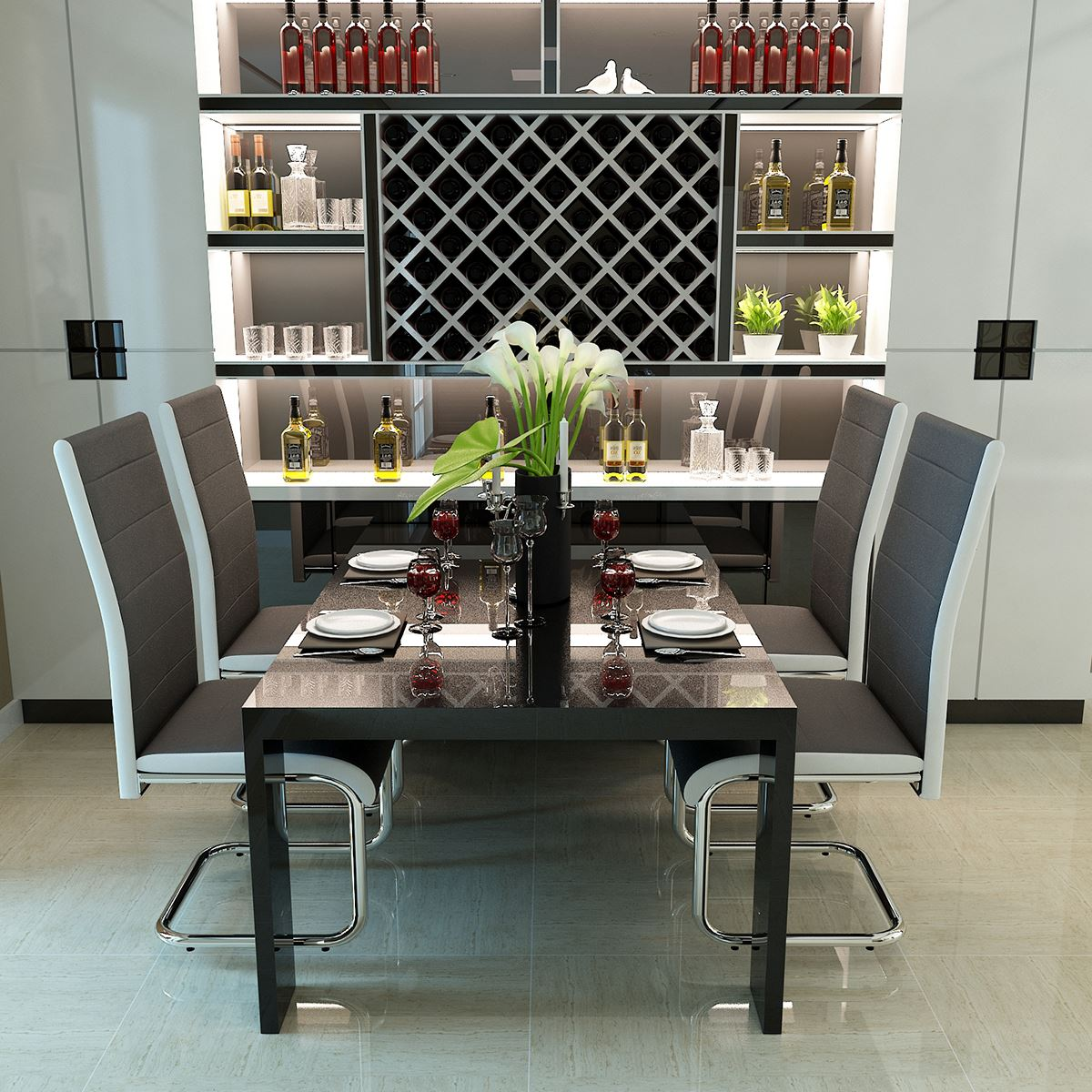 Panana 2/4 X New Gray Faux Leather Dining Chairs High Back And Chrome Legs With Semi-suspended Design