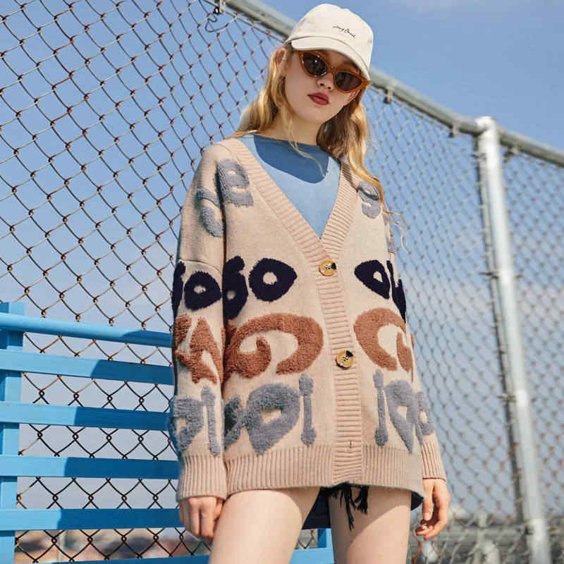 UNIFREE 2019 sonbahar-kış yeni varış kazak kadınlar Kore moda stil gevşek büyük boy hırka elbise kadın UDB183N009A2223