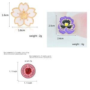 Цветок вишни розы лацкан Металлические Булавки